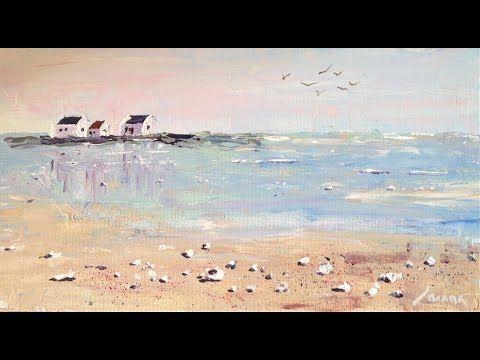 10-Minuten-Malerei: Strandmotiv nach J. Jauneau #selbstgemachteleinwandkunst