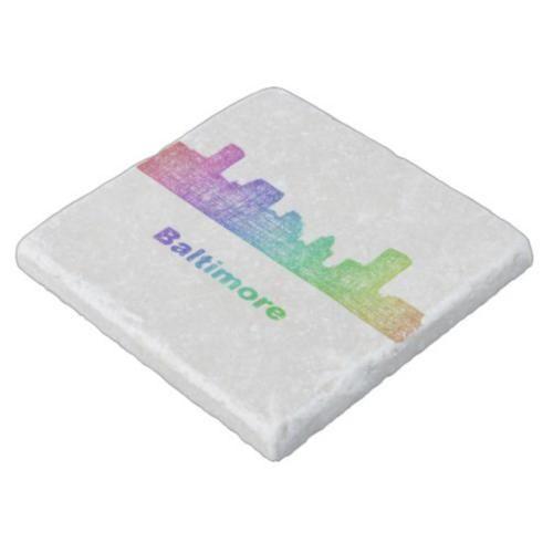Rainbow Baltimore skyline Stone Coaster $11.00 *** Rainbow city skyline of Baltimore  Maryland. - coaster