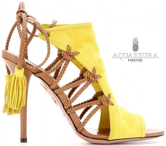 dbc324b2b3f Aquazzura Sahara Yellow Suede   Tan Leather Ankle-Tie Sandals - Buy Online  - Designer Cutout