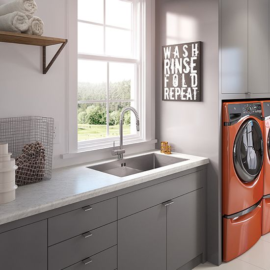 Wilsonart Faux Carrara Marble With Stainless Undermount Sink And Gray  Cabinets