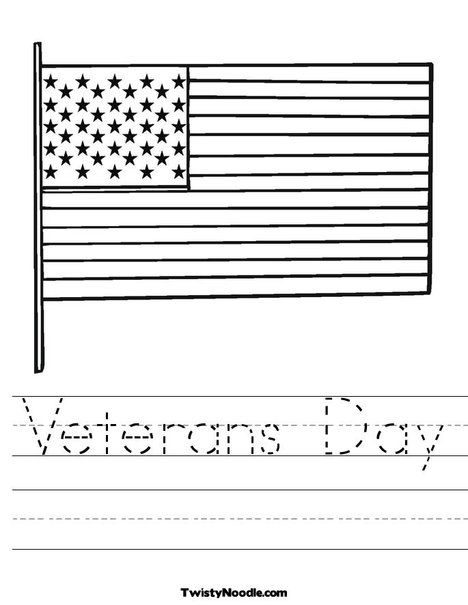 Veterans Day Worksheet From TwistyNoodle