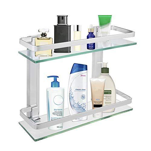 2-Tier Bathroom Glass Shelf Shower Organizer Storage Holder Wall