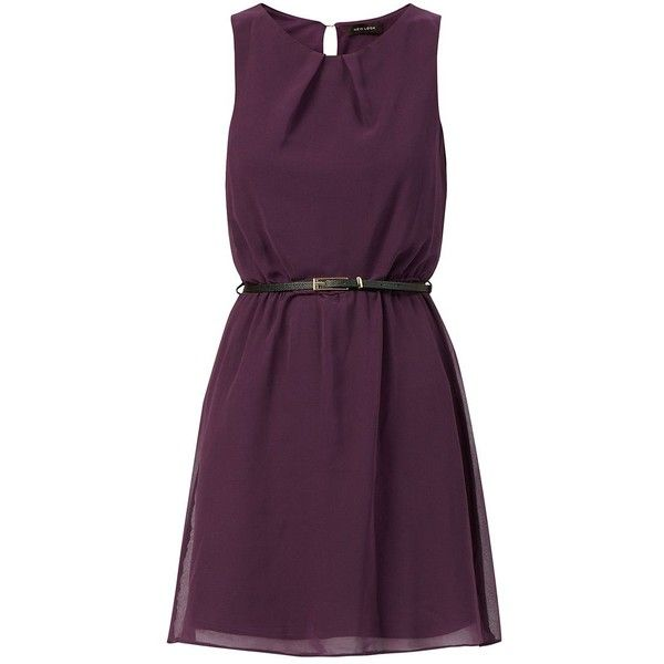 Purple Chiffon Belted Skater Dress (89 BRL) ❤ liked on Polyvore featuring dresses, vestidos, aubergine, purple fit and flare dress, sleeveless dress, chiffon dresses, purple sleeveless dress and loose fitting dresses