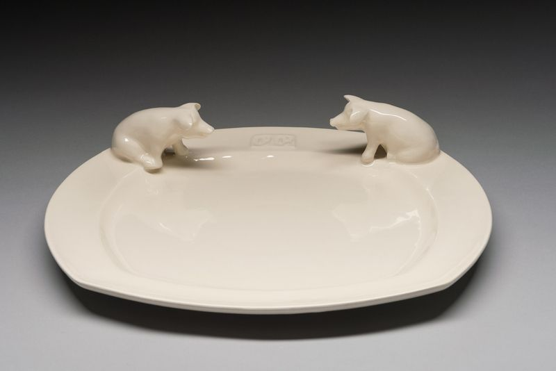 """Plates – square plait with two pigs """"Country life"""" – a unique product by Belinda-Berger on DaWanda"""