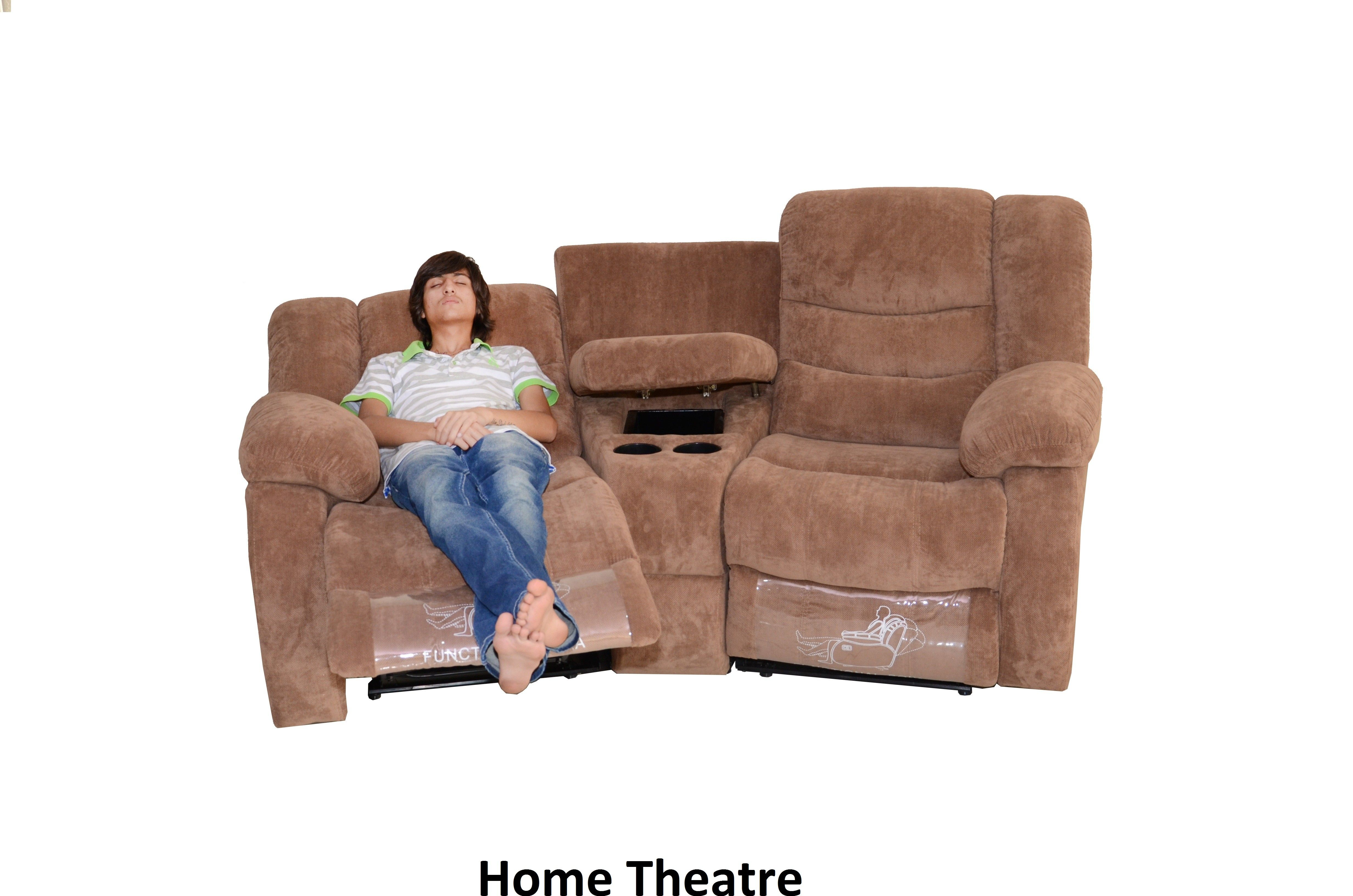 HOME THEATER U2013 Two Seater With Recliner Arm Rest Storage Below  And Cup HoldersUpholstery Of Fabric An Option PUFrame Is Made Pinewood  Recliner Holder L29