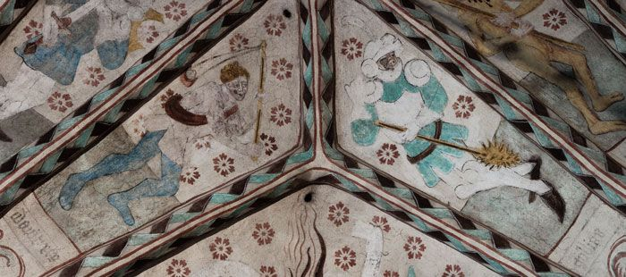 David dödar Goljat med slunga - Floda kyrka