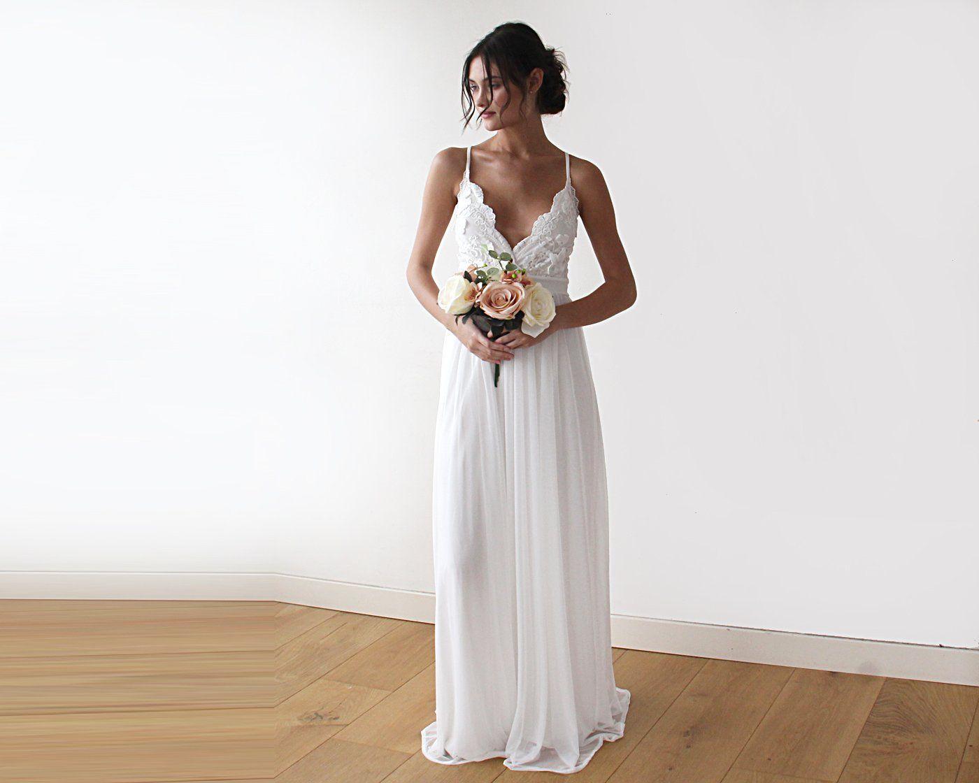 Lace spaghetti strap wedding dress  Lace spaghetti straps maxi dress D Flower lace ivory wedding dress
