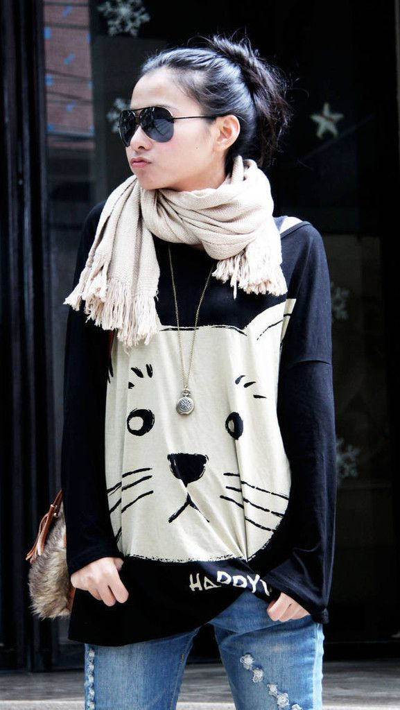whiskers cat face sweater from crazy cat lady clothing $15.99