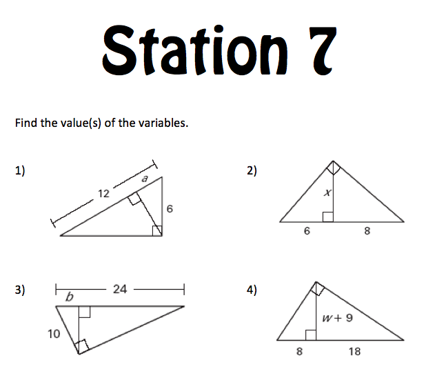 Mrs. E Teaches Math: Right Triangles Stations Review (1st