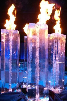 A Magnificent Fire Display Using These Spectacular And Ice Columns Breathtaking
