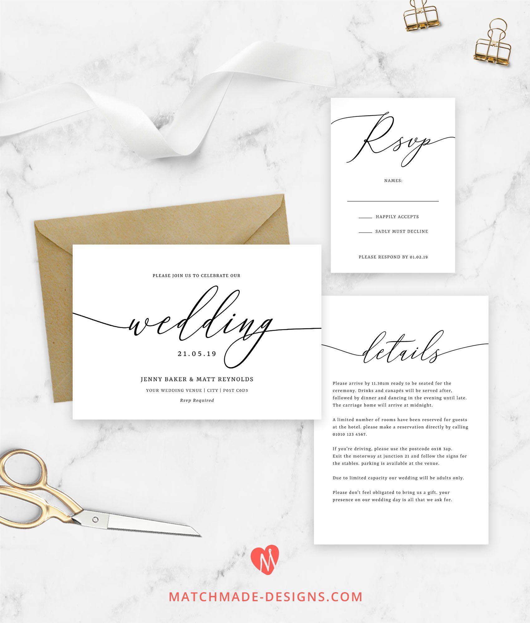 Calligraphy Wedding Invitations Template Editable