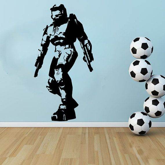 Large Gaming Halo Masterchief Wall Art Decal Mural Sticker Bedroom ...