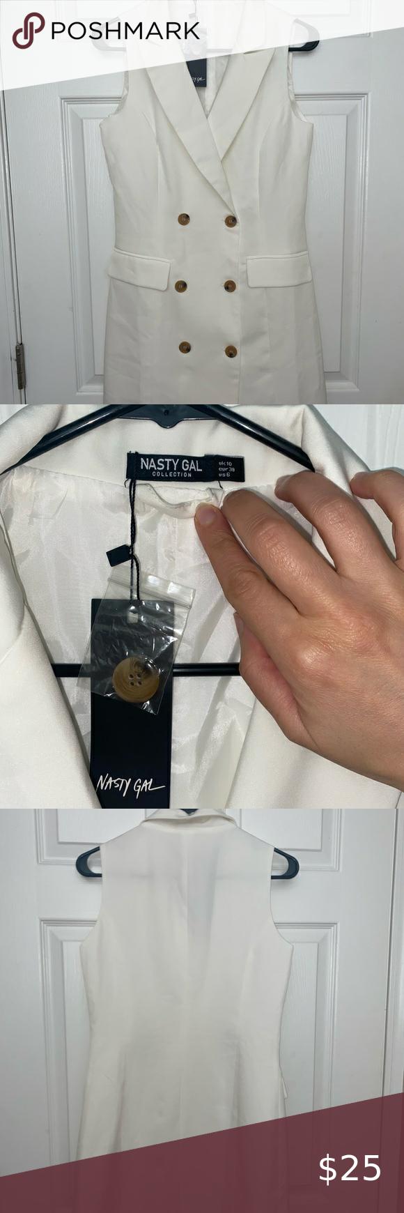 Nasty Gal white blazer dress