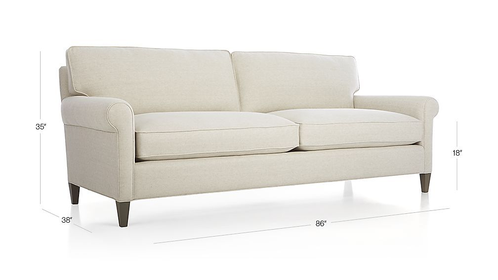 Montclair 2 Seat Sofa Duet Natural Crate And Barrel Rolled