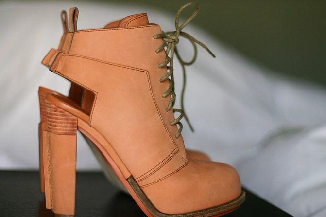 Alexander Wang Dakota Lace-Up Boots in Terracotta. WIN THEM HERE: http://www.fashionchalet.net/2012/03/new-in-alexander-wang-dakota-lace-up.html