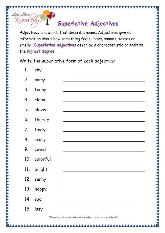 page 7 superlative adjectives worksheet moon light adjective worksheet worksheets grammar. Black Bedroom Furniture Sets. Home Design Ideas
