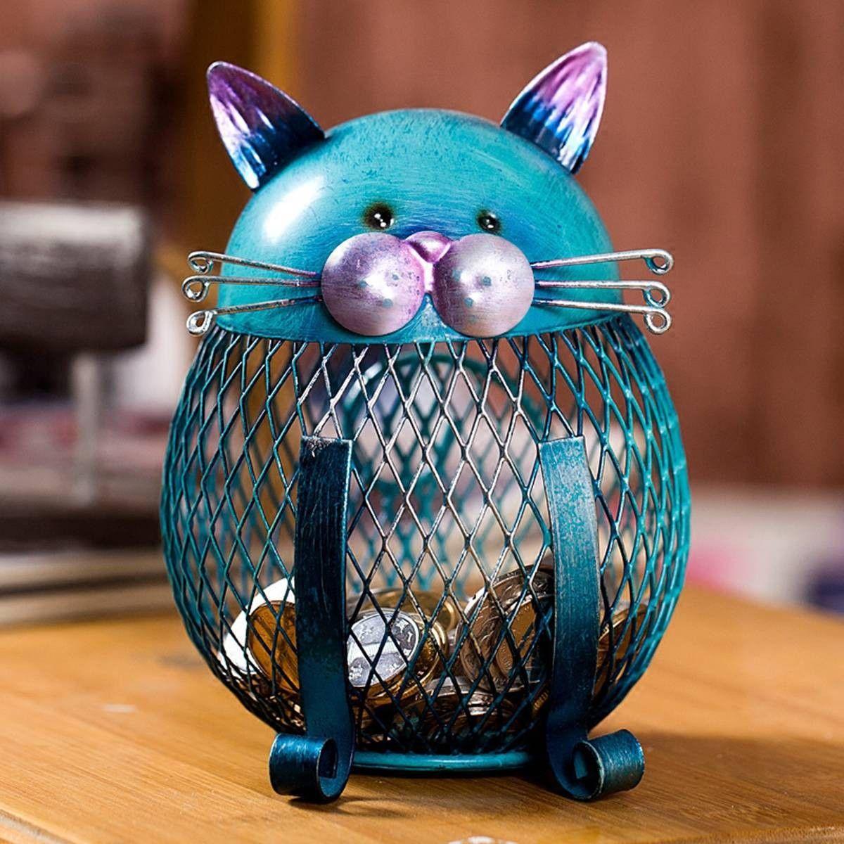 Best And Cheap Light Blue Tooarts Kitten Piggy Bank Coin Bank Practical Sculp Home Decor Tooarts Com Cat Piggy Bank Piggy Bank Iron Art