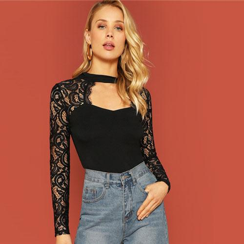 1245319b2c SHEIN Highstreet Black Cut Out Front Eyelash Lace Insert Fitted Tee 2019  Spring Casual Women Modern