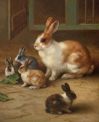 Edgar Hunt (1876-1955) and his brother Walter who were born in Birmingham, were the third generation in the Hunt family to become artists. Edgar had no formal art training but was schooled by his father. He specialised in painting exquisitely detailed works of farmyard scenes and animals, executed meticulously in a realistic style which never changed throughout his career. The artist lived in the Midlands and sold many of his pictures there.