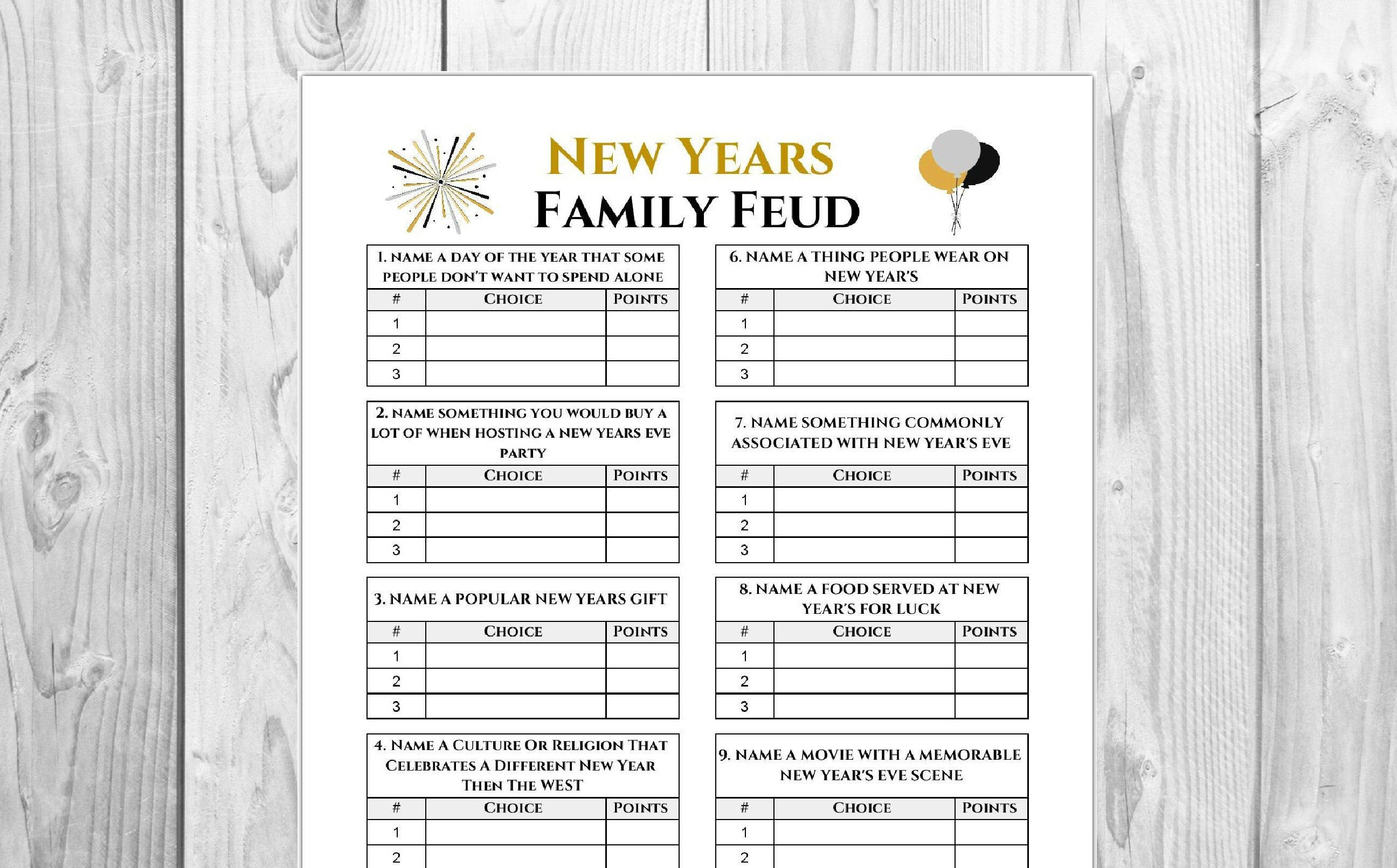 New Year's Family Feud Game | Holiday Game Printable ...