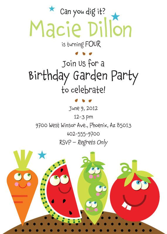 Birthday Garden Party Invitation with Vegetables for Kids 1500 – Garden Birthday Party Invitations