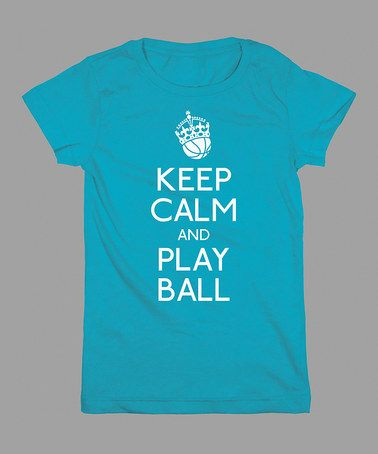 Another great find on #zulily! Aqua 'Keep Calm & Play Ball' Tee - Girls by KidTeeZ #zulilyfinds