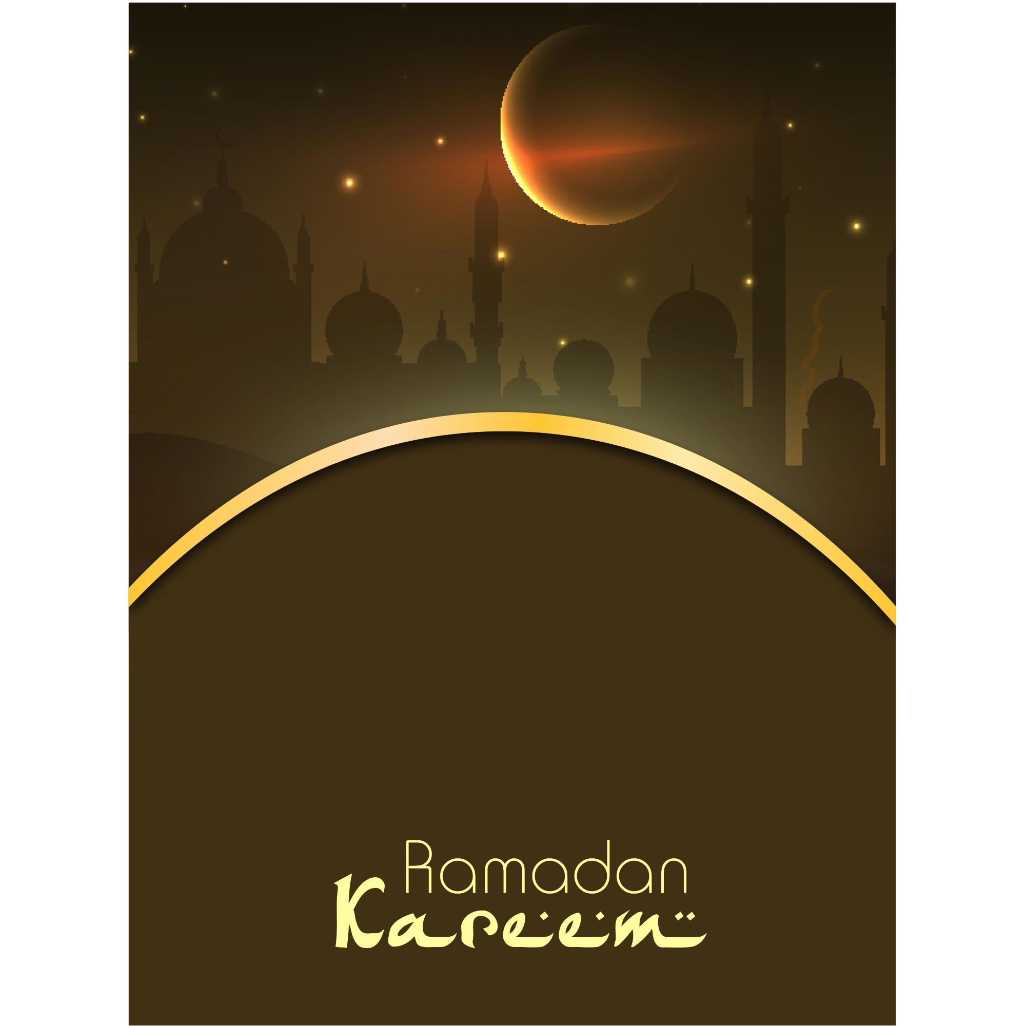 Vector Ramadan Kareem Calligraphy Brown Template Kreatif Remaja