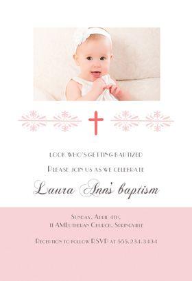 Free Printable Baptism Christening Invitation Pink Cross Girl