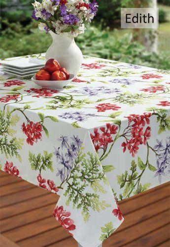 Amazon Com Io Ed84 Benson Mills 84 X 60 Tablecloth Edith Garden Floral Indoor Outdoor Spillproof Kitchen Spring Tablecloths Table Cloth