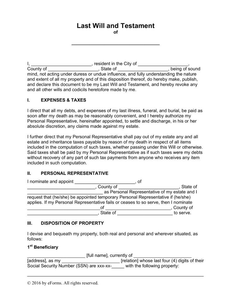 free last will and testament templates - a  u201cwill u201d