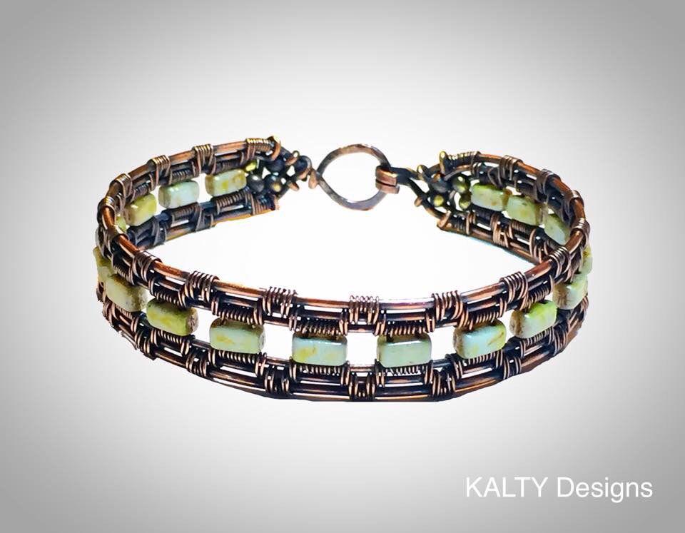 KALTY Designs original - oxidised copper wire weave bangle.
