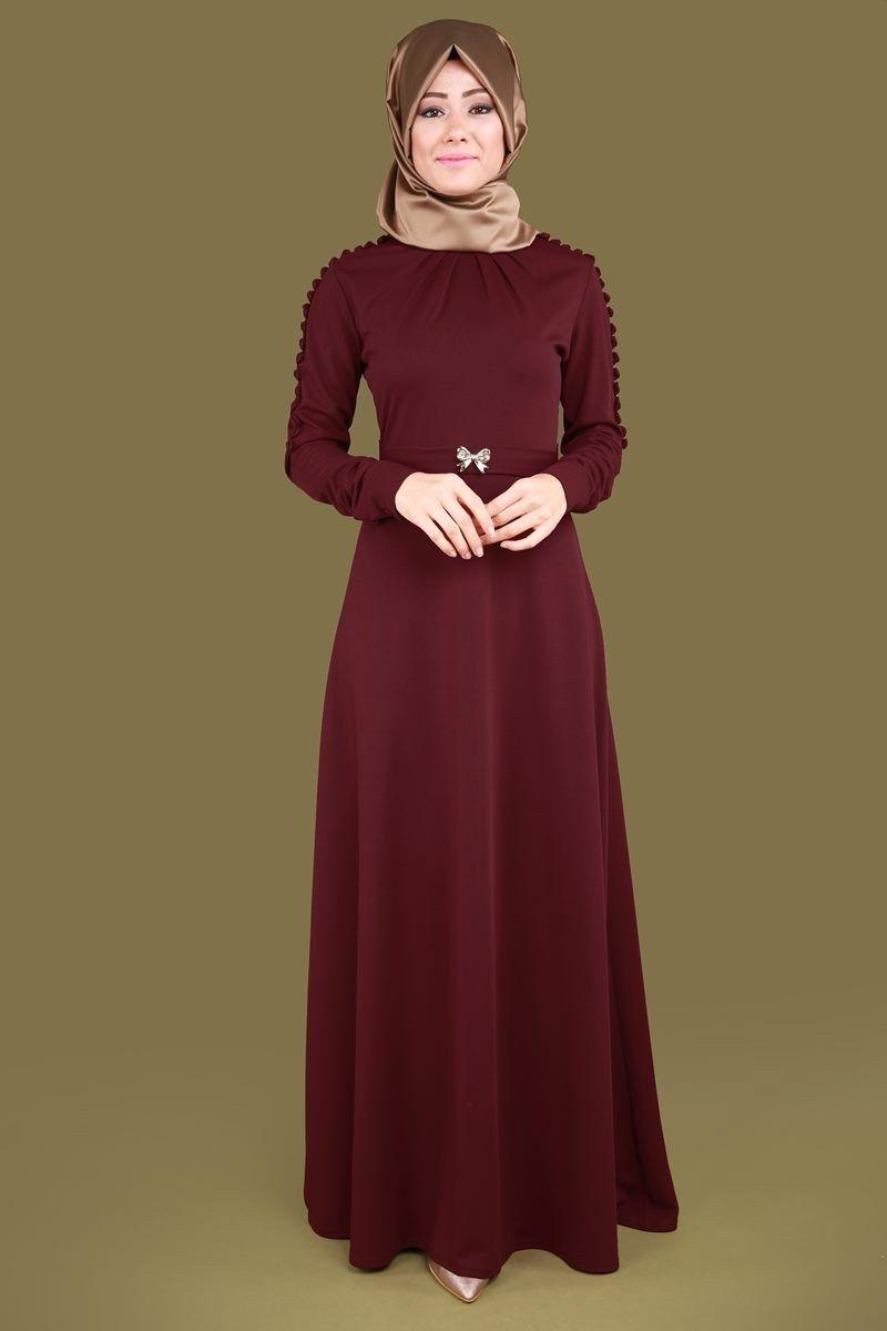 Kollari Dugmeli Tesettur Elbise Elf3485 Bordo Moda Stilleri Elbise The Dress