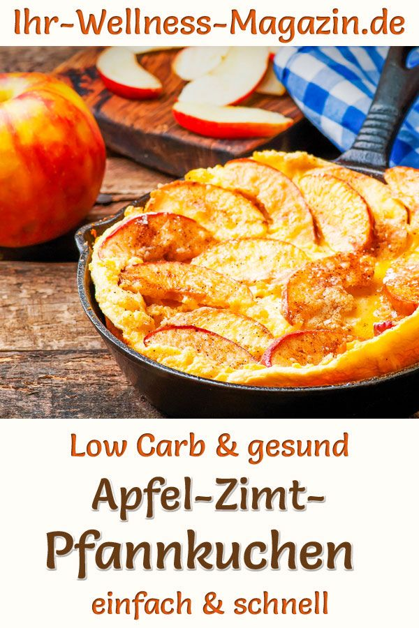 Schneller Apfel-Zimt-Pfannkuchen - Low-Carb-Rezept ohne Zucker