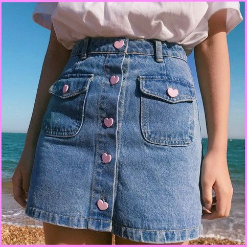 Heart Button Pocket Denim Skirt Free Shipping Fashion Aesthetic Clothes Pretty Outfits