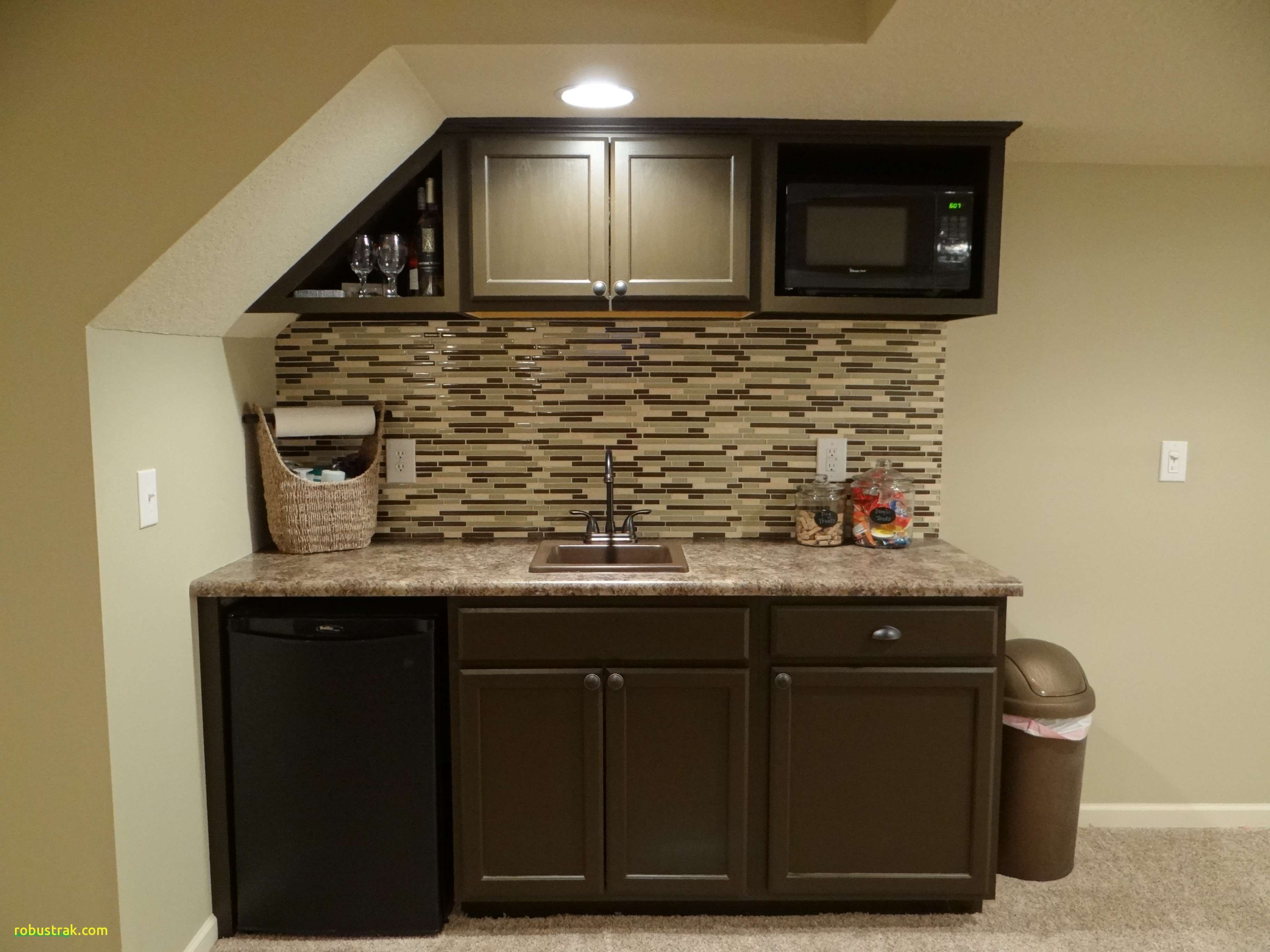 Sink Wet Bar With And Refrigerator Bat Under Stairs Used Stock Cabinets Countertop From Lowes Painted