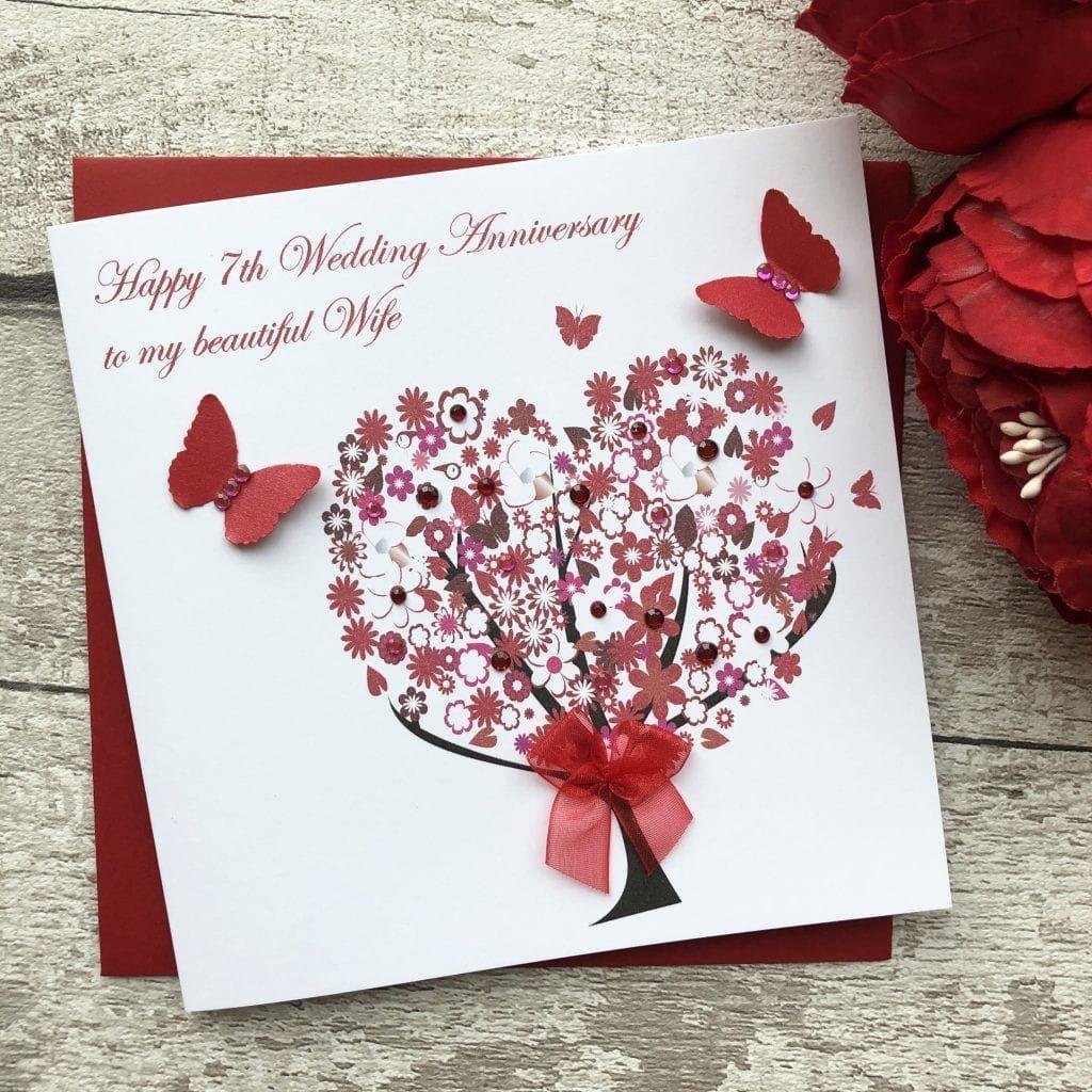 handmade wedding anniversary card floral tree handmade cards Happy