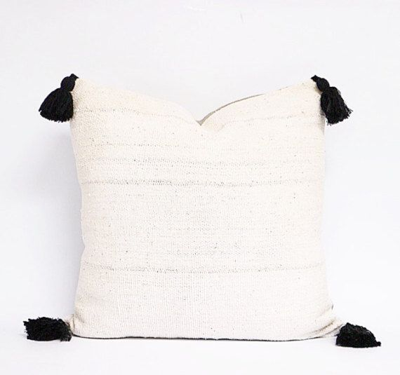 White Mudcloth Pillow Cover Tassel
