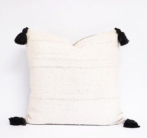 White Mudcloth Pillow Cover 22x22 White