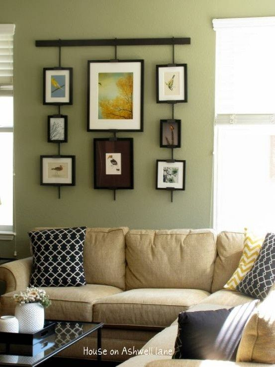 Living Room: Green Walls U0026 Tan Couch With Black Accents (love The Pillows!