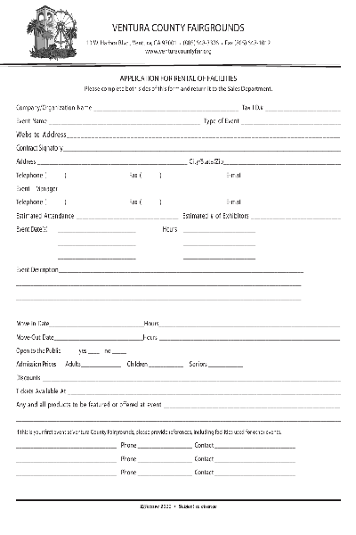 FacilityRentalApplication Pdf Form Free Download