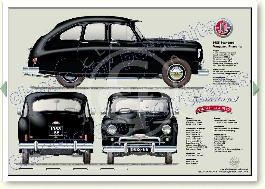 Standard Vanguard S1 1953-55 classic car portrait print   Pin Jaki ...