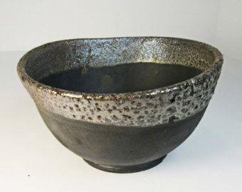 NEW Raku Ware Med Size Black Artisan Pottery Bowl W/Silver & Copper Contrasting Rim, SIGNED - Edit Listing - Etsy