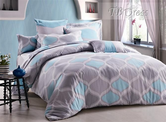 Rustic Wavy Shape In Grey And Light Blue Cotton Piece Bedding - Blue and grey comforter sets queen