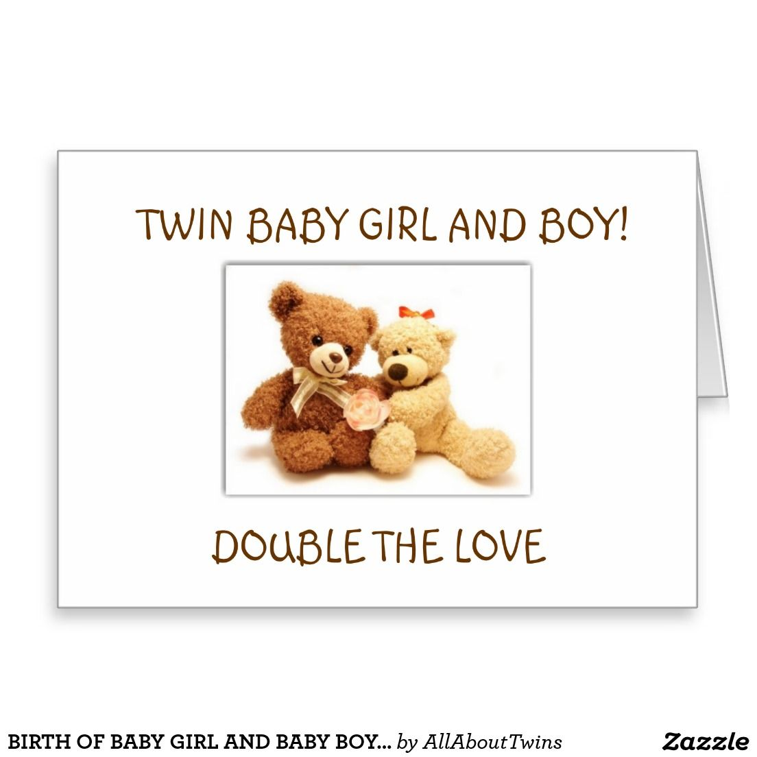 Birth Of Baby Girl And Baby Boy Twins Greeting Card Greeting Cards