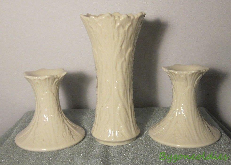 Lenox Woodland Leaf Design Vase And Candlesticks Usa 3 Piece Set Cream Candlesticks Vase Leaf Design