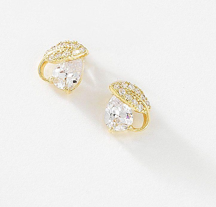 Para Mujeres S forma gota de cristal de oro plata perla Stud Pendientes Joyas Regalo UK