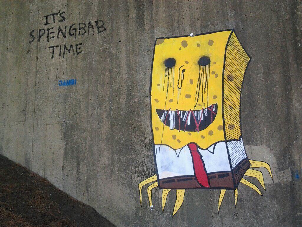 UMass Amherst, Its Spengebab time | Street art