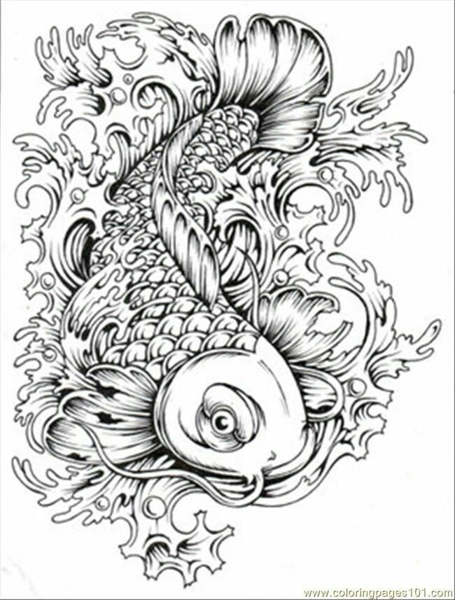 Coloring Page for Adults: Wild Japanese Koi Carp. Download ...