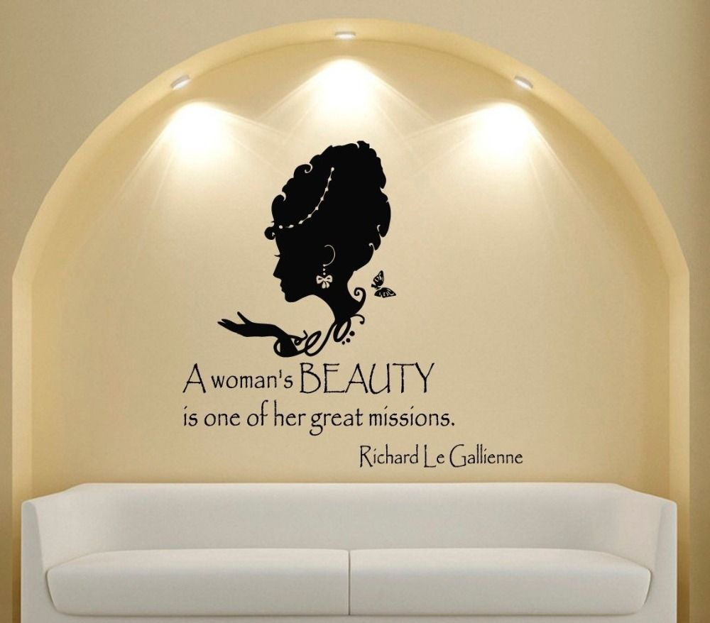 gunstige benutzerdefinierte name salon vinyl wandtattoo zitat wall vinyl decal room sticker quote a woman s beauty people interior design