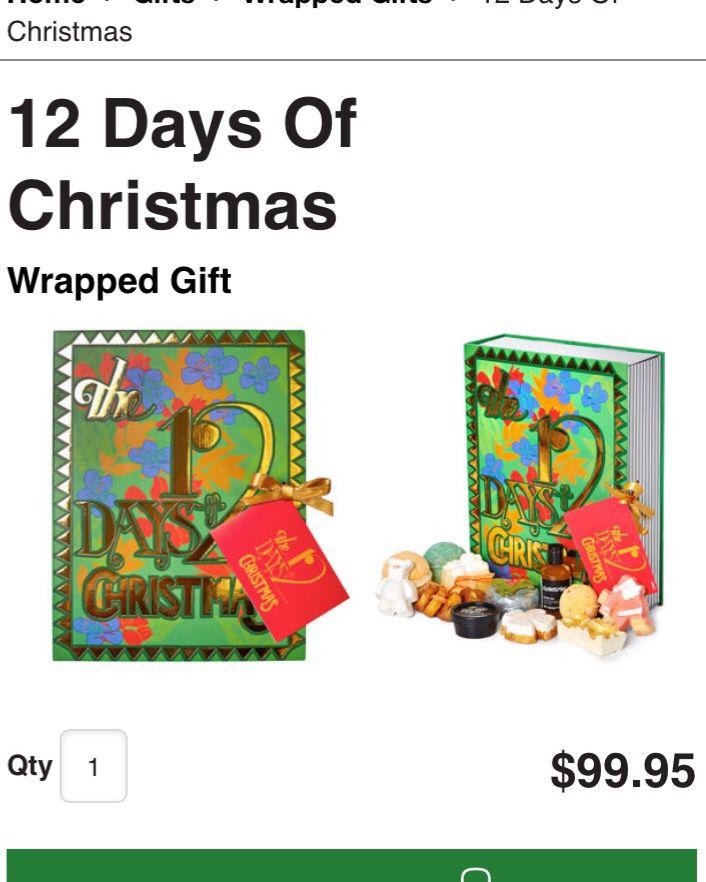12 Days of Christmas $99.95 http://www.lushusa.com/Christmas/christmas,en_US,sc.html
